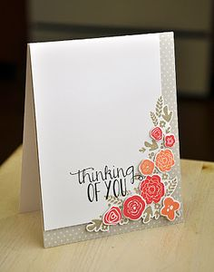 Maile Belles: the Mini Blooms stamp set/dies and a piece of soft stone pattern paper.The colors are melon, berry, light gray and black.