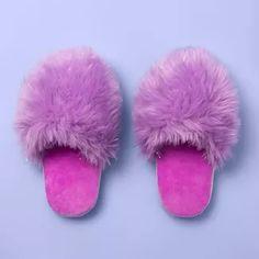 Girls' Furry Slide Slippers - More Than Magic™ Purple : Target Bright Purple, Pink Purple, Bear Bows, Loafer Slippers, Slippers For Girls, Womens Slippers, Disney Girls, Plushies, Pandas