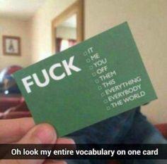 My entire vocabulary!
