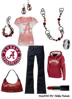 "For my Alabama girls! With Premier Designs "" Very Berry"" Necklace, earring, and bracelt, and the ""Groovy"" ring!"