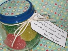 Party favors for 1st birthday party... Sunkist gummies in baby food jar