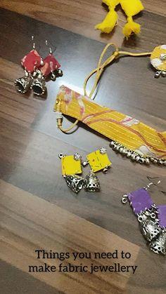 Diy Fabric Jewellery, Fabric Earrings, Handmade Wire Jewelry, Thread Jewellery, Diy Crafts Jewelry, Handmade Jewelry Designs, Textile Jewelry, Do It Yourself Jewelry, Diy Crafts For Girls