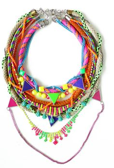 Super duper chunky piece, neon crystal rope necklace, statement OOAK jewelry.. $200.00, via Etsy.