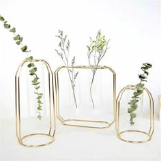 Metal Vase Frame, Geometric Plant Pot, Plant Vase, Plants Tabletop Display Holder with Iron Art Frame Stand for Table Office Home Decor Vases Decor, Plant Decor, Flower Vases, Flower Pots, Flower Diy, Flower Ideas, Or Rose, Rose Gold, Terrarium Containers