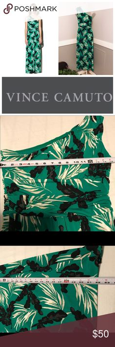 """Vince Camuto one shoulder maxi Beautiful Vince Camuto one shoulder gown in EUC.  Tagged a size small, it measures 15"""" across at the bust and is 52"""" long from the shoulder. All reasonable offers welcome. Vince Camuto Dresses Maxi"""