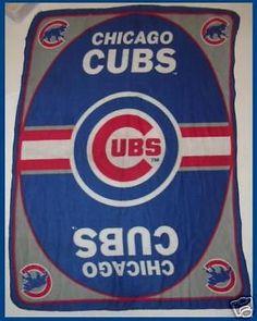 Chicago Cubs Cubbies Baseball Blue Red Fleece Blanket 44 x 60 #ChicagoCubs
