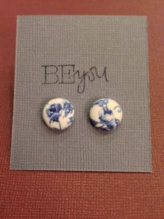 Cover Button Earrings  Blue and White Floral Design by KDesign21 Only $4!!!