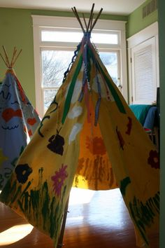 Play Tents decorated by the kids in a class...could be so cute.