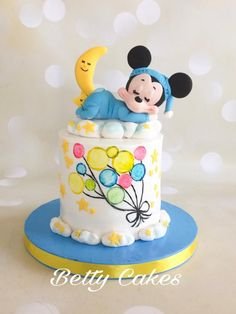Hand painted Mickey Mouse Cake  by BettyCakesEbthal