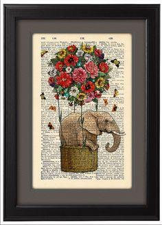 Fliegende Elefanten Kunstdruck, bunte Blumen Wörterbuch Print Poster, Dorm Dekor, Home Wanddekoration, Ballon, Geschenk Poster, CODE/203