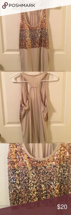 Express Sequins Tank Tan racer back loose fitting tank has sequins of rose gold, silver, and gold. Slightly used. Express Tops Tank Tops