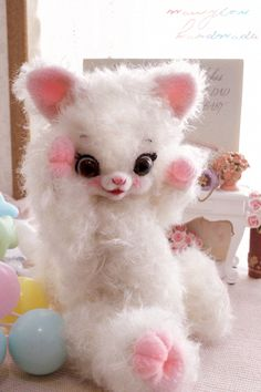 White Mohair Kitty Bear by Mary Lou