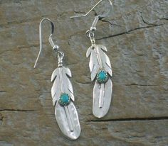 Native American Jewelry- silver feather earrings