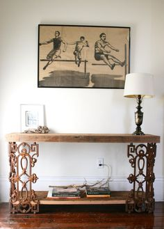 The Piety Table-Console Table or Writing Desk Made From Reclaimed Wood and Wrought Iron