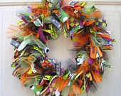 RESERVED For HOLLY - Fall Wreath, Ribbon Door Wreath for Fall Decor, Autumn Front Door Wreath. $60.00, via Etsy.
