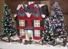 I love the addition of the front porch on this paper mache house!
