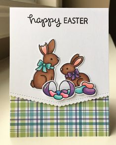 Card critters bunny bunnies Lawn Fawn jelly beans bunny MFT basic edges scalloped Die-namics Plaid paper Mocha Frap Scrapper: Happy Easter Bunnies