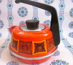 Pretty Vintage Orange 1970s Kettle. --via Etsy.
