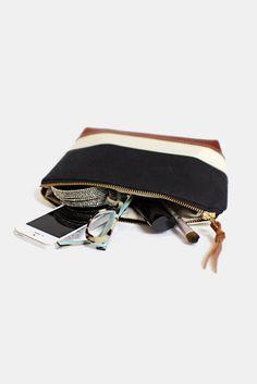 Stripe bag travel pouch make up bag nautical