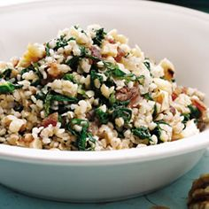 Mustard Greens & Bulgur. Make this with spinach
