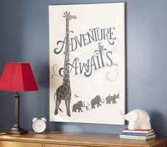Adventure Awaits Canvas Art | Pottery Barn Kids. So Cute! Love the ceramic elephant too!