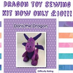 Summer Sale!  Doris the Dragon toy sewing kit now only £10 instead of £18!