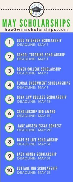 College Scholarships With May Deadlines - ADD these to your list! #college #scholarships #ScholarshipMom