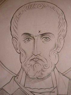 Paint Icon, Catholic Art, Roman Catholic, Byzantine Icons, Religious Icons, Orthodox Icons, Christian Art, Drawing Techniques, Line Drawing
