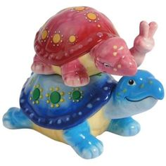 Peace TurtlesRIDING PIGGYBACK  Magnetic Salt & Pepper Shakers