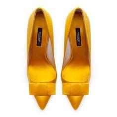 Zara Yellow Satin Bow Court shoes