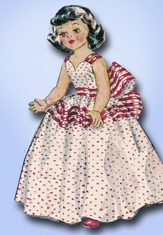 1950s Vintage McCalls Sewing Pattern 1646 16 Inch Bridal Set Doll Clothes ORIG