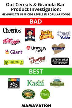 Oat Cereals & Granola Bars Investigation: Glyphosate Levels in Popular Foods - Super Healthy Healthy Cereal, Healthy Food List, Healthy Recipes, Eat Healthy, Healthy Snacks, Advocare Recipes, Healthy Juices, Protein Snacks, Healthy Breakfasts