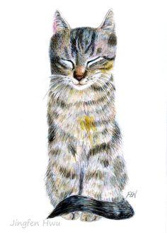 "grey tabby cat drawing ""A Dozing Cat"" desk decoration, fine art print, nursery room decor, cat lovers's gift  #jingfenhwu"