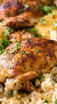 Oven Baked Chicken and Rice - Recipes, tips and everything related to cooking for any level of chef. Chicken Thights Recipes, Oven Chicken Recipes, Rice Recipes, Casserole Recipes, Dinner Recipes, Cooking Recipes, Dinner Ideas, Oven Recipes, Chicken Quarter Recipes