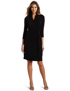 Karen Kane Women's Three-Quarter-Sleeve Cascade Wrap Dress