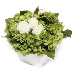 Forever Green Art Preserved White Roses with Hydrangea, Tortum, Brunia and Lemon Leaf Cube -- For more information, visit image link.