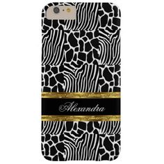 Zebra Wild Animal Pattern Black White Gold Barely There iPhone 6 Plus Case