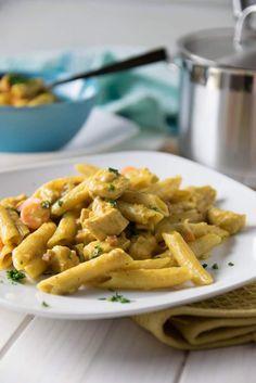 Curry Pasta mit Hähnchenbrust