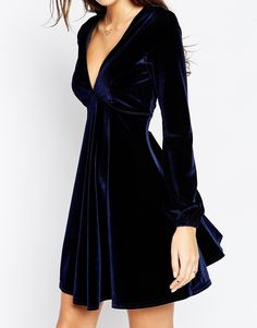 Image 3 of ASOS Velvet Skater Dress With Bell Sleeve And Piping