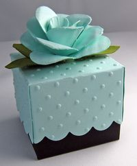 Gift Box. Tutorial with link on how to create the paper flowers.