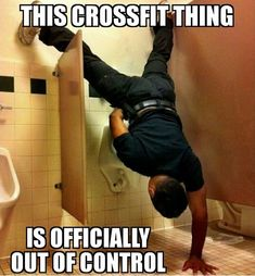 Crossfit fitness meme joker humor funny handstand strength ha lol one handed press exercise gym workout gainz inspiration