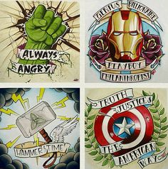 Avengers tattoo ideas… If these were fake, I'd totally get these & plaster them all over my arms.