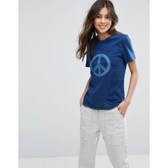 YMC Peace Indigo T-Shirt ($58) ❤ liked on Polyvore featuring tops, t-shirts, blue, blue tee, peace tee, tall tees, peace t shirts and tall tops