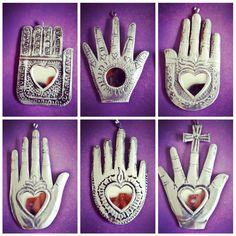 Mexican healing hands. interesting they use 'open' heart symbol in 'chakra' position
