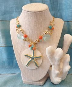 Turquoise Coral and Mother of Pearl Necklace by TheGreenEyedTurtle, $35.00