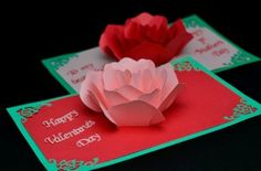 Rose Flower Pop Up Card Tutorial - Creative Pop Up Cards pertaining to Printable Pop Up Card Templates Free - Best Professional Templates Birthday Card Template, Christmas Card Template, Valentine Day Cards, Valentines Diy, Printable Valentine, Free Printable, Diy Pop Up Cards Templates, Templates Free, Origami Templates