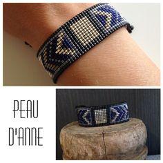 manchette large en perles miyuki tissées : Bracelet par peaud-anne