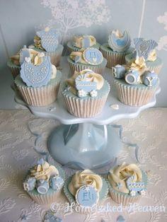 Madagascan vanilla new baby boy cupcakes Baby Cakes, Baby Shower Cakes, Baby Shower Cupcakes For Boy, Cupcakes For Boys, Fun Cupcakes, Baby Boy Shower, Christening Cupcakes Boy, Cupcakes Decorating, Baby Cupcake