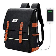 Vintage Laptop Backpack College School Bag Bookbags for Women Men Laptop Casual Rucksack Water Resistant School Backpack Daypacks with USB Charging Port (Black) Vintage Backpacks, Stylish Backpacks, Cute Backpacks, School Backpacks, Best Laptop Backpack, Laptop Rucksack, Laptop Bag, Travel Backpack, Fashion Backpack