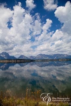 Jackson Hole Wyoming Lake Clouds and Mountains Reflection